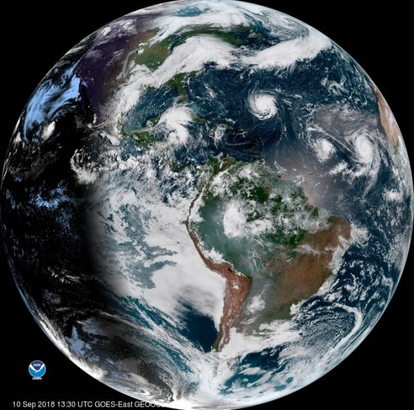 A satellite image from Monday shows Hurricane Florence as it travels west and gains strength in the Atlantic Ocean. Hurricanes Isaac and Helene have also formed off the coast of West Africa.