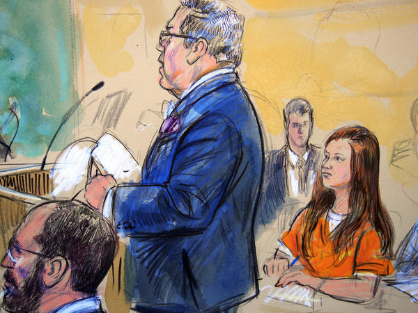 """Attorneys for Maria Butina, seen in this July sketch, say the government """"smeared"""" her with salacious allegations — ones it now has, in fact, walked back."""