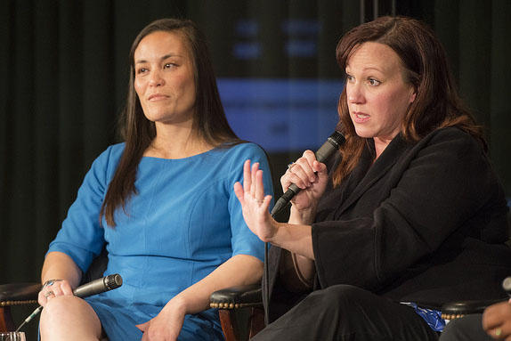 Congressional candidates MJ Hegar (right) and Gina Ortiz Jones speak at the LBJ Presidential Library in June. Both are military veterans seeking their first political office.