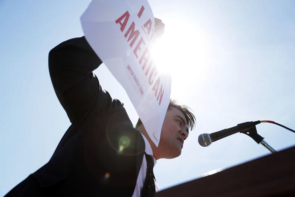 Jose Antonio Vargas, pictured at a rally in front of the U.S. Supreme Court in 2016, has written a memoir of his life as an undocumented immigrant in <em>Dear America.</em>