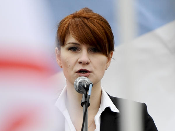 Maria Butina, photographed in 2013 at a pro-gun rally in Moscow, is charged with conspiring to act as a Russian agent