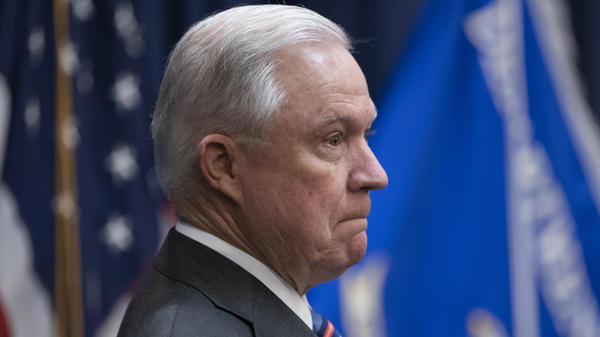 Attorney General Jeff Sessions at an event discussing immigration policies on Sept. 10. President Trump said on Tuesday that he's disappointed in the attorney general's job performance for a number of reasons, beyond his recusal from the Russia investigation.