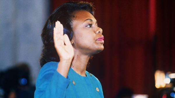 Law professor Anita Hill takes oath on Oct. 12 1991, before the Senate Judiciary Committee in Washington, D.C. Hill accused Clarence Thomas of sexual harassment.