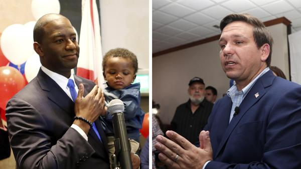 Andrew Gillum (D), pictured left, and Ron DeSantis (R), pictured right, are the biggest recipients of Florida's matching funds program.