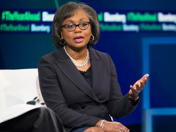 """Anita Hill says a """"neutral body"""" should investigate sexual assault allegations against Supreme Court nominee Brett Kavanaugh, because senators have already shown """"the presumptions they have about the claims that have been made."""" Hill is seen here at an event last year."""