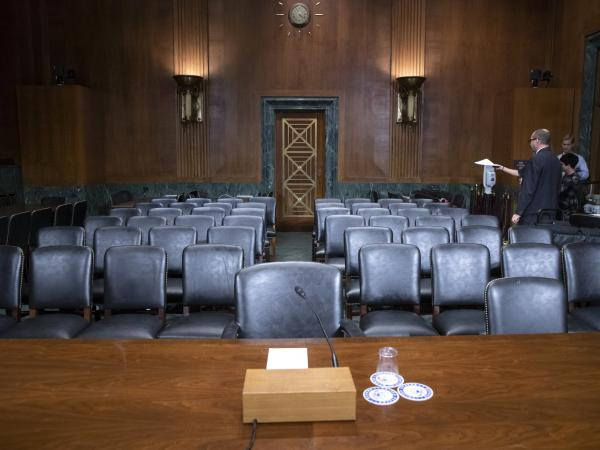 The Senate Judiciary Committee hearing room is prepared for Thursday's planned testimony from Christine Blasey Ford and Judge Brett Kavanaugh.