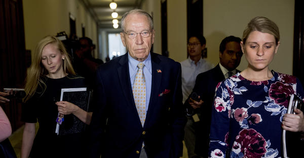 Senate Judiciary Committee Chairman Chuck Grassley, R-Iowa, departs after speaking to reporters on Capitol Hill on Sept. 19.