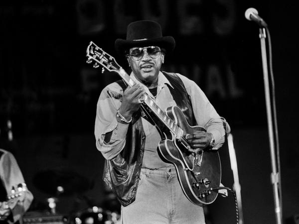 American Blues musician Otis Rush at the Petrillo Band Shell, Chicago, Illinois, June 3, 1995.