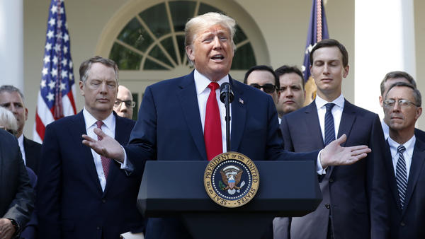 President Trump announced a revamped North American free trade deal and then took questions from reporters at the White House Monday.