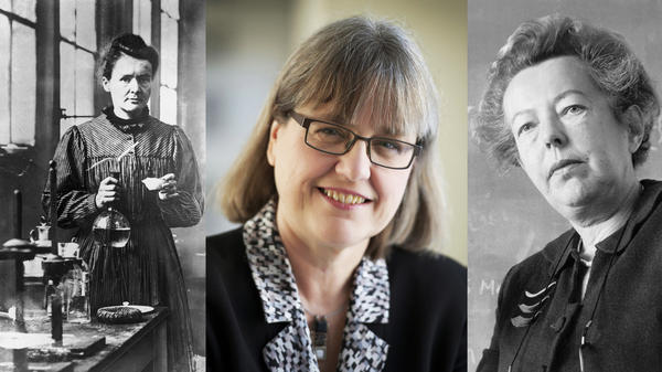 Marie Curie (left), French physicist and winner of the 1903 Nobel Prize for physics, Canadian Donna Strickland (middle), who won the 2018 prize for her work with lasers, and physicist Maria Goeppert Mayer (right), who won for her work in atomic physics in 1963.