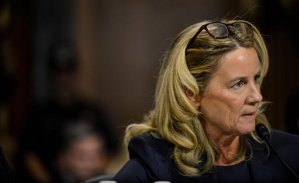 Christine Blasey Ford testifies before the U.S. Senate Judiciary Committee on Sept. 27. Ford's lawyers say she was not interviewed by the FBI for its supplemental investigation into allegations of sexual misconduct against Judge Brett Kavanaugh.
