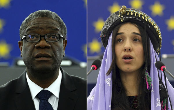 Dr. Denis Mukwege (left), from the Democratic Republic of the Congo, in 2014 and Nadia Murad, a Yazidi woman from Iraq, in 2016 as they both address the European parliament in Strasbourg, France. The pair won the 2018 Nobel Peace Prize for their work to highlight and eliminate the use of sexual violence as a weapon of war.