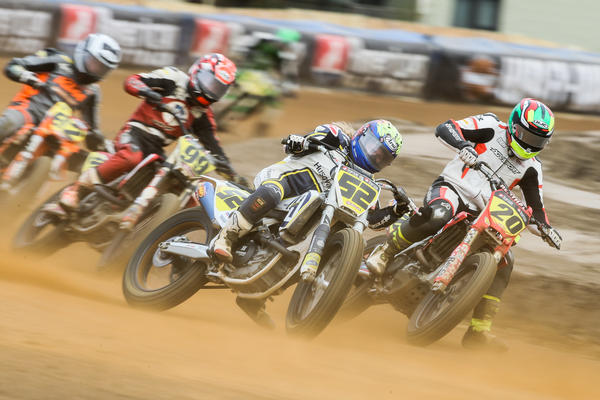 Shayna Texter (52) leads top-level AFT Singles riders Ben Low (20), Kevin Stollings and 2018 series champ Dan Bromley (62) out of a Canterbury Park corner during last week's Minnesota Mile AFT event.