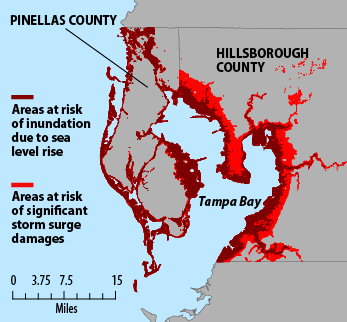 Potential sea level rise in Tampa Bay in 2100