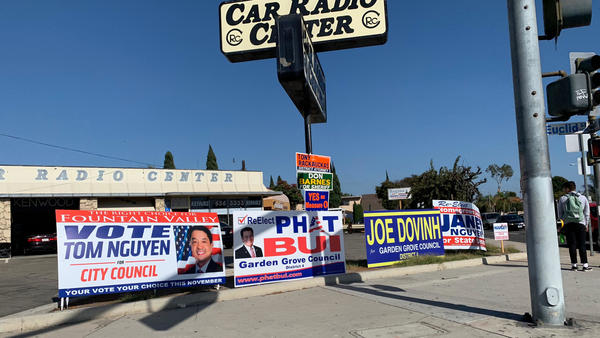 In the Orange County neighborhood known as Little Saigon, signs for political candidates with Vietnamese names line an intersection. The state's growing Asian-American population is expected to have an impact on the midterms in November.