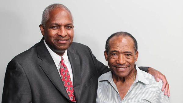 Melvin Pender (right) with his friend, Keith Sims, at their StoryCorps interview in Atlanta last month.