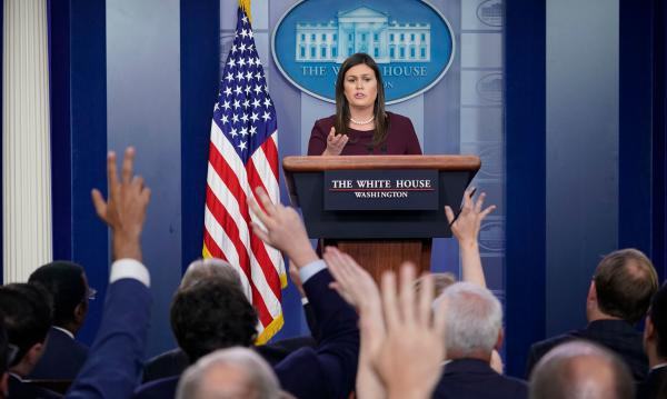 White House press secretary Sarah Sanders' appearances at the once-daily briefings have become fewer and farther between.