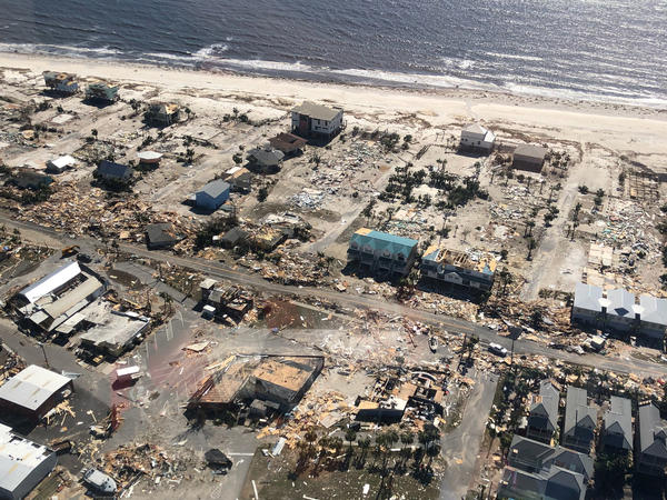 An aerial photo shows homes and businesses destroyed after Hurricane Michael smashed into Florida's northwest coast in Mexico Beach. The storm rampaged through Georgia and the Carolinas on Thursday.