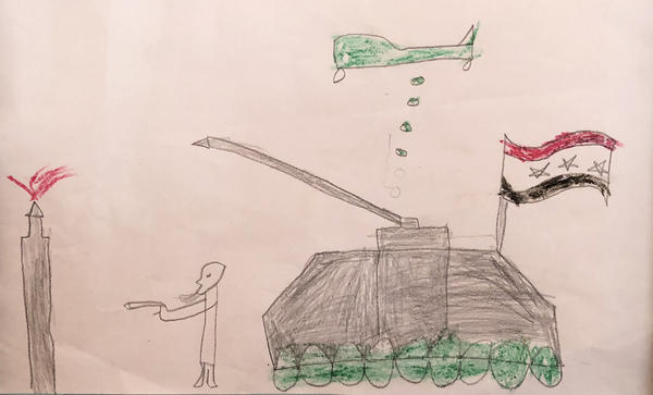 """A child's depiction of ISIS destroying his family's home in Raqqa, Syria. """"This is when ISIS shelled my home,"""" he says. """"My sister and niece were killed. Just like that, two missiles."""""""