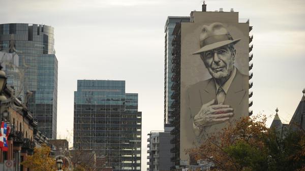 A memorial mural of musician Leonard Cohen in downtown Montreal.