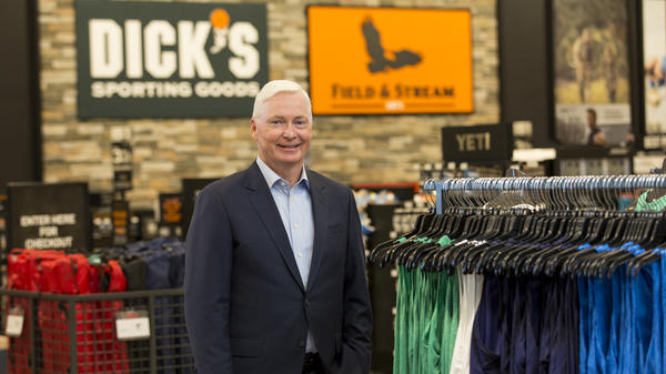 CEO of Dick's Sporting Goods Ed Stack visits a new store in the Houston area in 2016. In February, Stack pulled assault-style weapons from store shelves and raised the minimum age to buy guns to 21.