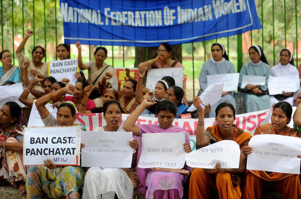 Activists in India protest against virginity tests in the states of Madhya Pradesh and Kerala in 2009.
