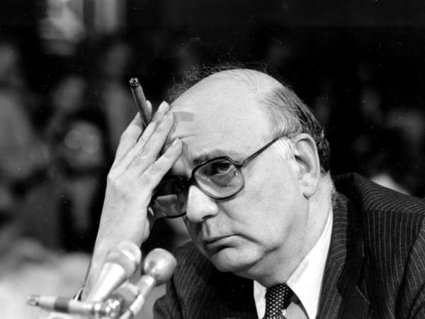 Federal Reserve Board Chairman Paul Volcker listens to a question as he appears before the Senate Banking Committee in Washington, D.C., in 1980.
