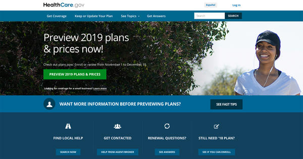 Open enrollment for 2019 health plans begins Nov. 1 on HealthCare.gov and on most state insurance exchanges.