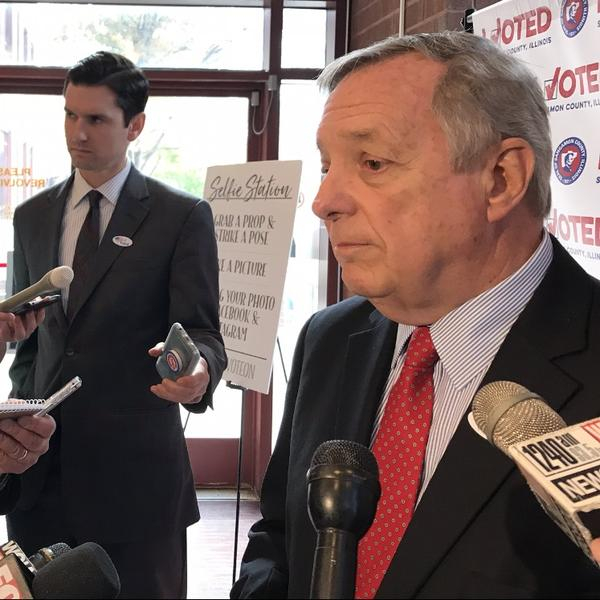 Sen. Dick Durbin speaks to reporters outside a Sangamon County polling place on Oct. 31