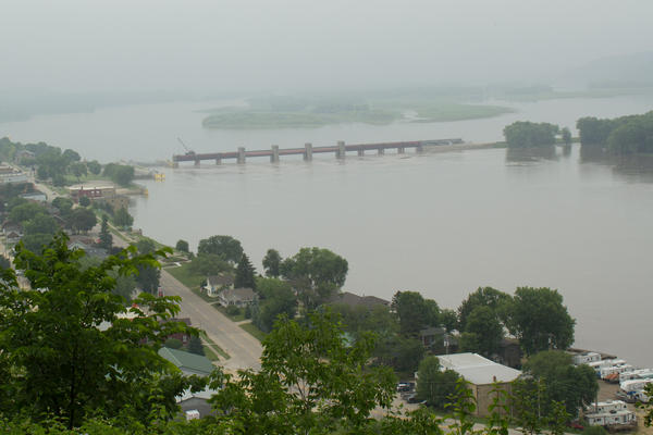 Lock and Dam #12, pictured here, is in the town of Bellevue, Iowa.