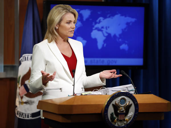 State Department spokeswoman Heather Nauert speaks during a briefing last year. President Trump announced Friday that Nauert is his choice as the next ambassador to the United Nations.