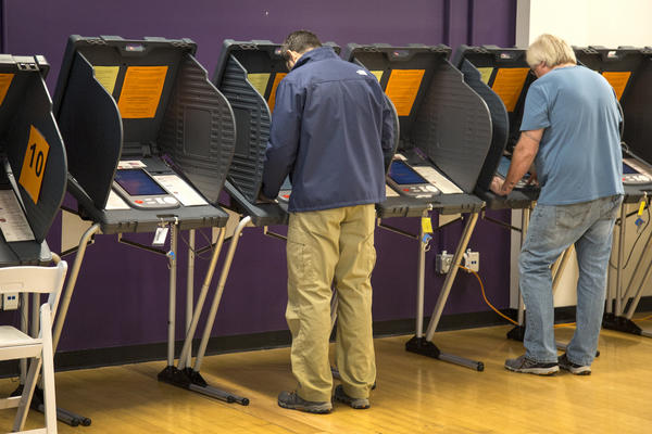 Voters cast ballots on eSlate voting machines at Austin Community College on Tuesday.