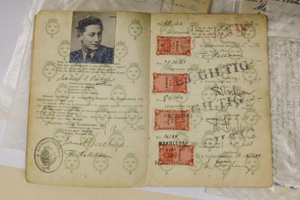 Gert Berliner's Swedish ID card with which he eventually entered the U.S. in 1947. He lived in Berlin until he was 14 years old. Gert escaped the Nazi death camps because his parents got him on a children's transport to Sweden in 1939.