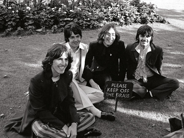 The Beatles at St. Pancras Old Church in London on July 28, 1968.