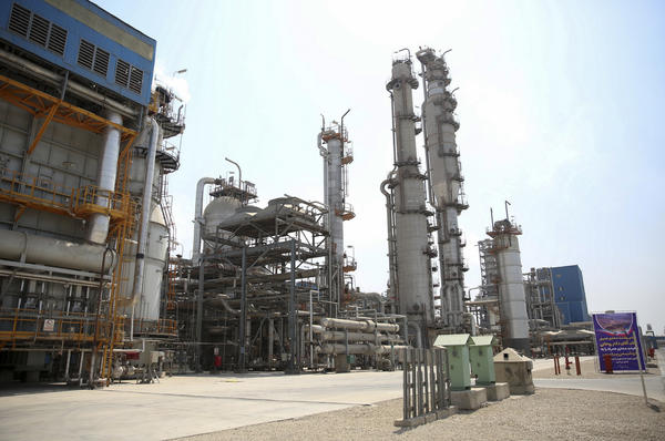 Part of the Pardis petrochemical complex facilities in Assaluyeh, on the northern coast of the Persian Gulf, Iran. The United States has reimposed sanctions targeting Iran's economy.