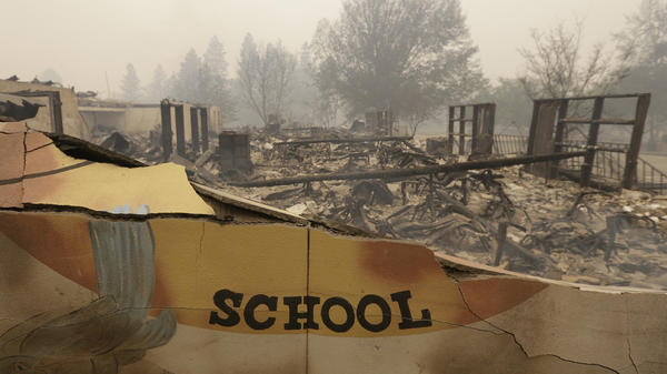 The burned remains of Paradise Elementary School is seen Friday, in Paradise, Calif. Authorities say a wildfire has all but destroyed the Northern California town.