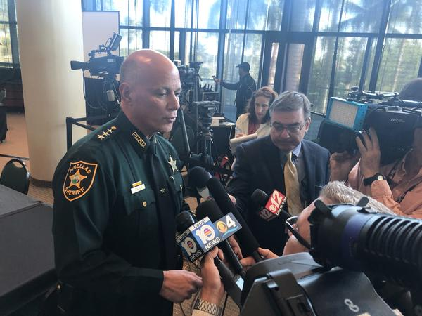 Marjory Stoneman Douglas High School Public Safety Commission chair Bob Gualtieri, who is also sheriff in Pinellas County, provides an update to reporters during a meeting Friday at the BB&T Center in Sunrise.