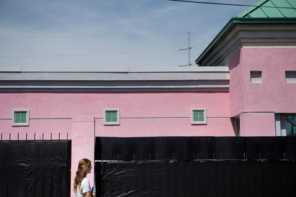 A woman walks into the Jackson Women's Health Organization, the last abortion clinic in Mississippi, on April 5.