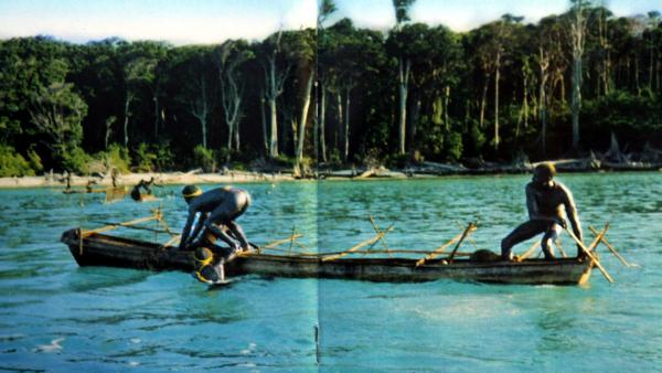 In this undated photo released by the Anthropological Survey of India, Sentinelese tribe men row their canoe near India's Andaman and Nicobar archipelago.