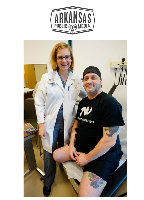 Dr. Erika Petersen with patient Jared Jackson, one of the participants in her amputation pain device study