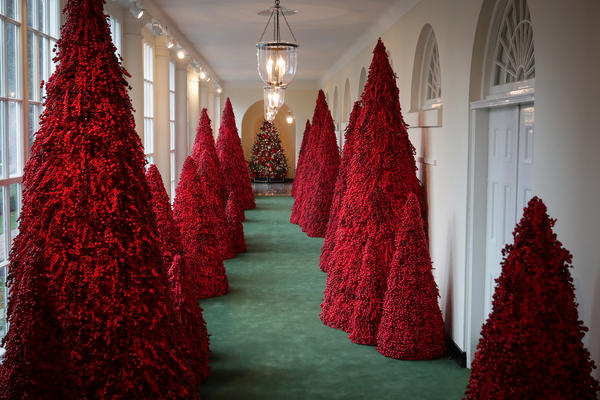 More than 40 red topiary trees greet guests when they first enter the East Colonnade, which leads to the East Garden Room, where the first family's Christmas card is on display.