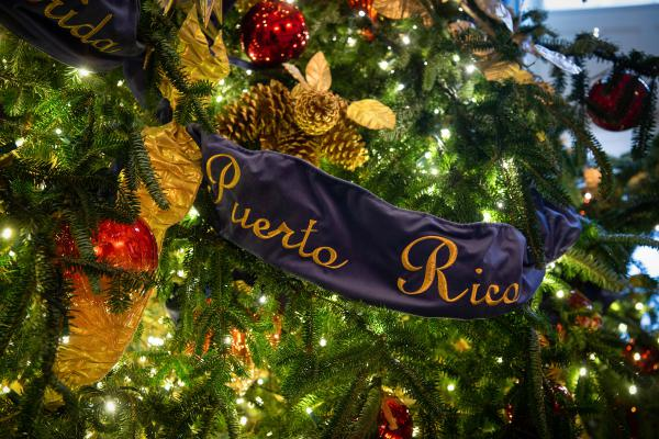 A detail of the official White House Christmas tree, which is dressed in over 500 feet of blue velvet ribbon embroidered in gold with the name of each state and territory.