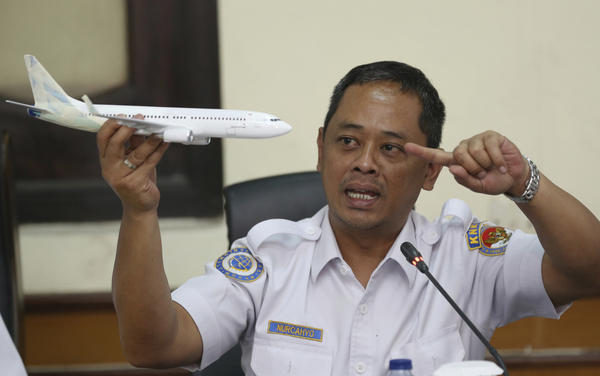 Nurcahyo Utomo, an investigator for Indonesia's National Transportation Safety Committee, speaks at a news conference in Jakarta, Indonesia, on Wednesday, about preliminary findings from the investigation into the crash of Lion Air Flight 610.