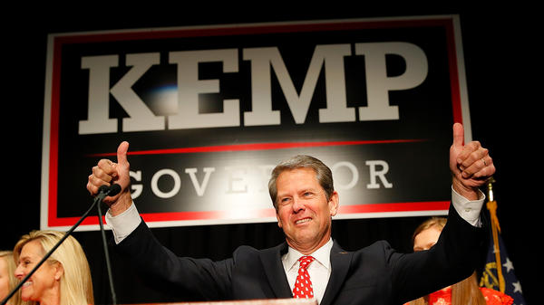 Then-Georgia Secretary of State, and Republican nominee for governor, Brian Kemp attends an election night event in Athens, Georgia. As secretary of state, Kemp was charged with overseeing the election logistics for the election he was running in.