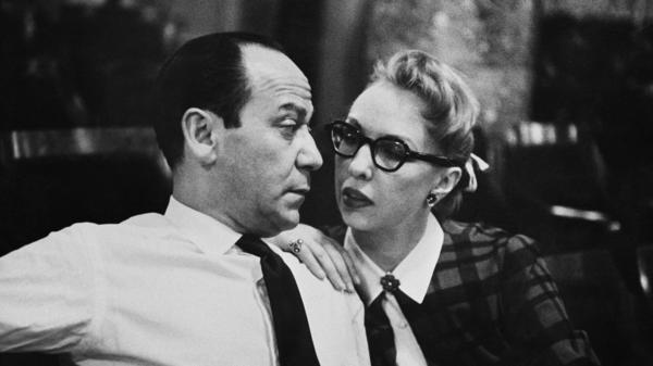 """Composer Frank Loesser with his wife and musical partner, Lynn Garland, in 1956 in New York. Decades later, Loesser's """"Baby, It's Cold Outside"""" is being banned by radio stations."""