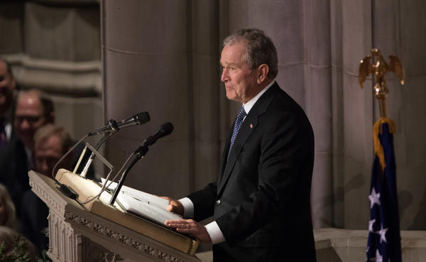 "Former President George W. Bush eulogizes ""the best father a son or daughter can have."""