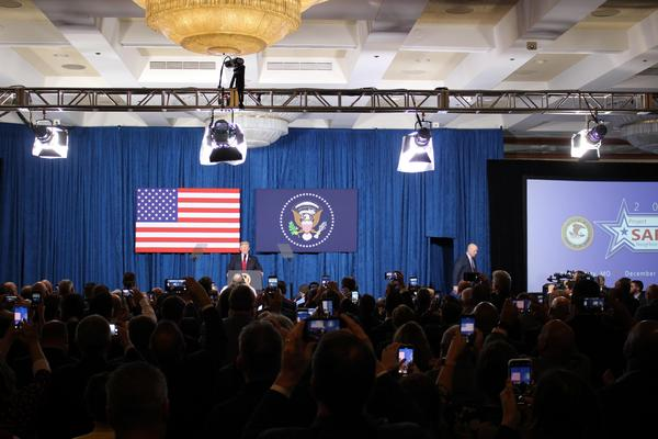 Trump flew to Kansas City, Missouri, Friday to give a speech at the Project Safe Neighborhoods national conference.