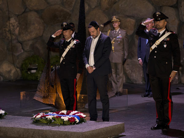 Italian Interior Minister Matteo Salvini attends a memorial ceremony at Yad Vashem in Jerusalem last week.