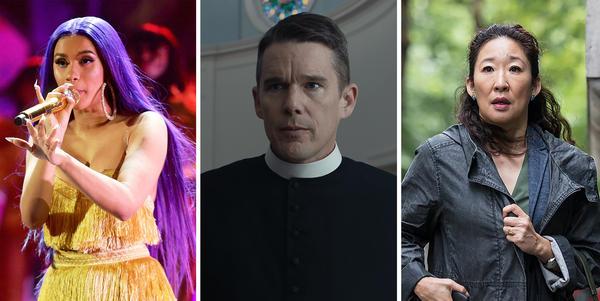 Cardi B; Ethan Hawke in <em>First Reformed; </em>Sandra Oh in<em> Killing Eve.</em>
