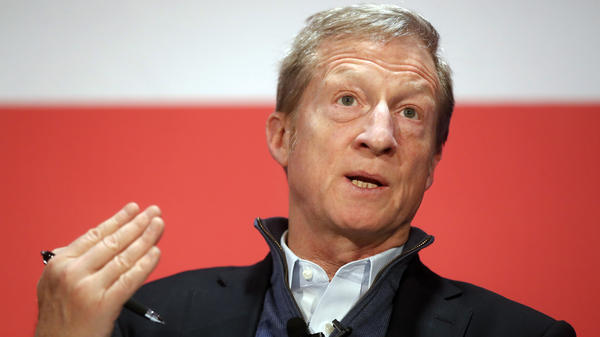 "Political activist Tom Steyer speaks during a ""Need to Impeach"" town hall event in Cincinnati in March 2018."